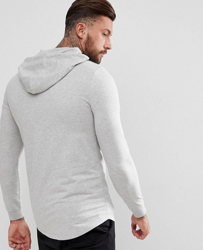 Longline Gym Muscle Hoodie With Curved Hem In Grey