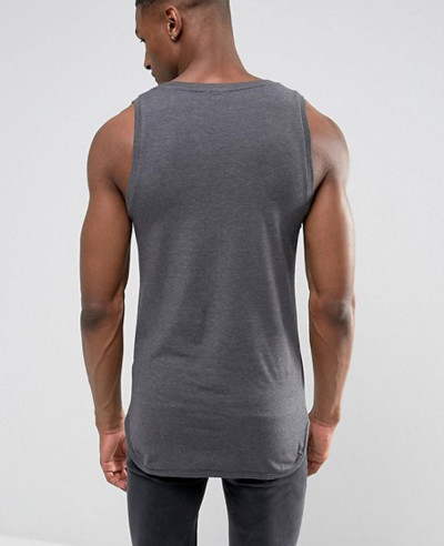 Longline Gym Muscle Vest With Bound Hem In Grey Tank Top