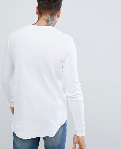 Longline Long Sleeve Waffle With Curved Hem In White T Shirt
