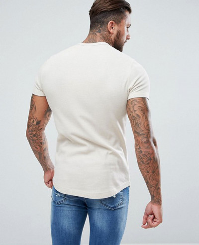 Longline Muscle T Shirt With Curved Hem In Waffle In Beige