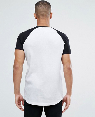 Longline Muscle With Curved Hem And Contrast Raglan Sleeves T Shirt