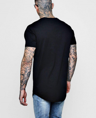 Longline Print With Curve Hem T Shirt