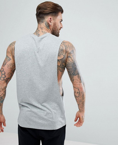 Longline Vest With Extreme Dropped Armhole In Grey Tank Top