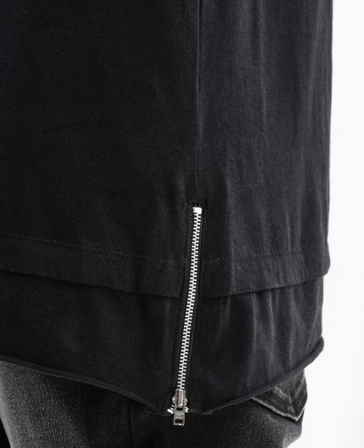 Longline With Studs At Pocket Side Zipper Men T Shirt