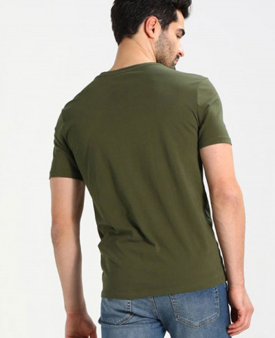 Men Basic Green Short Sleeve T Shirt