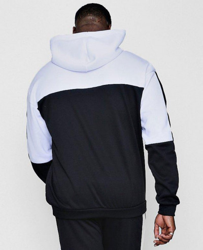Men Big And Tall Colour Block Over The Head Hoodie