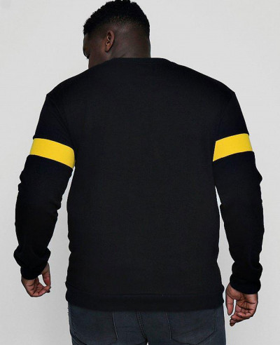 Men Black Big And Tall Sweater With Rib Insert Sweatshirt