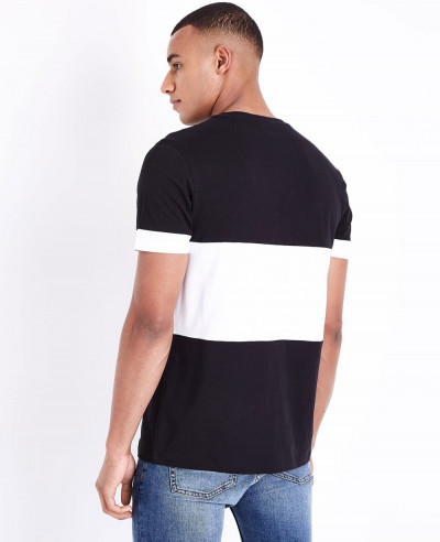 Men Black Block Color Front T Shirt