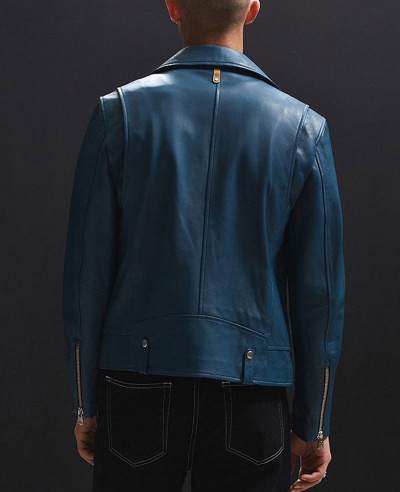 Men Blue High Class Biker Real Leather Moto Jacket