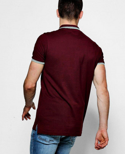 Men Burgundy Short Sleeve Pique Polo With Tipping Detail