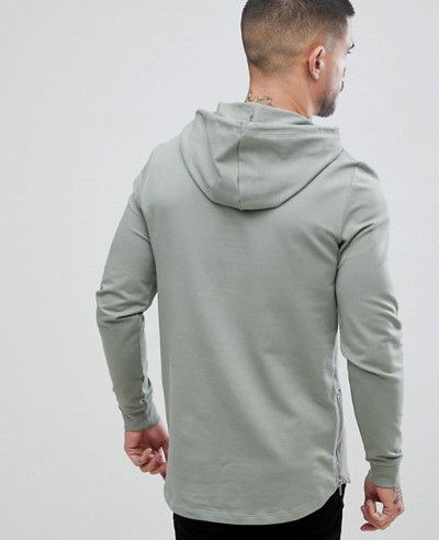 Men Casual Longline Muscle Fit With Side Zipper Hoodie