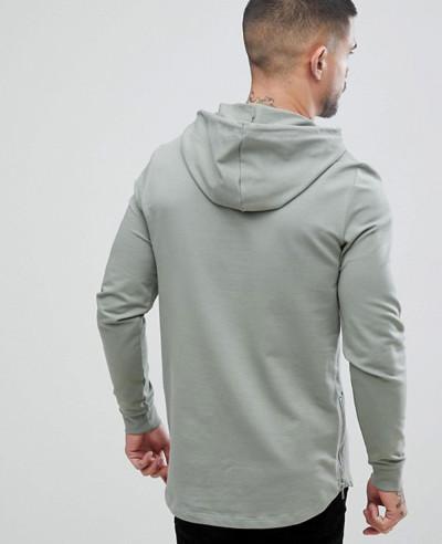 Men Casual Longline Muscle Fit With Side Zipper Hoodie
