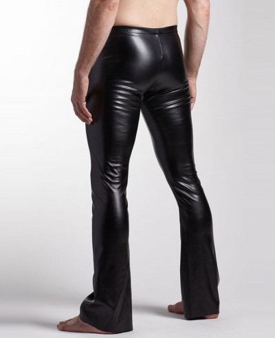 Men Classic Black Leather Pocket Motorcycle Pants
