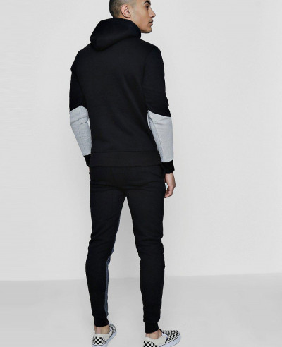 Men Colour Block Hooded Tracksuit