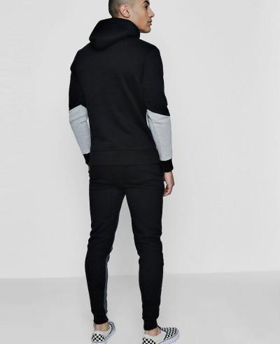 Men Colour Block Hooded Tracksuit