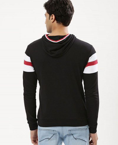 Men Contrast Panel Hooded Sweatshirt