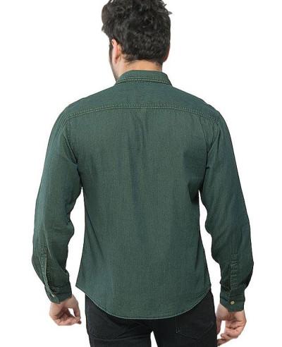 Men Dark Green Denim Brass Button Down Overshirt