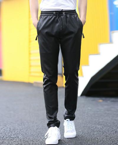 Men Fashion Zip Hip Hop Leather Long Jogger Pants
