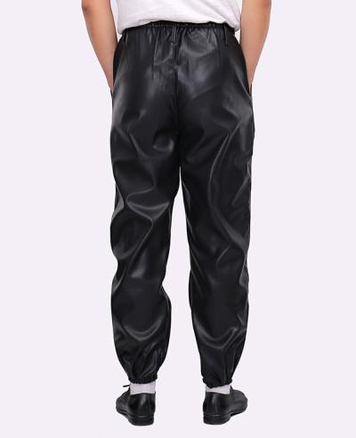 Men Fashion Zipper Faux Leather Long Jogger Pants
