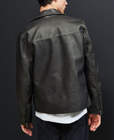 Men Faux Leather Moto Jacket