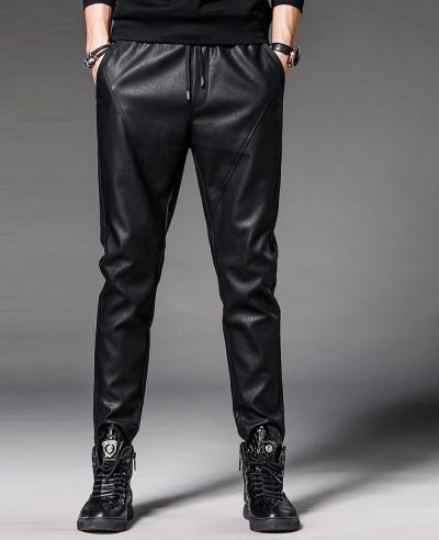 Men Faux Leather Pants Nightclub Skinny Pencil