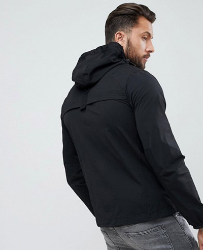 Men Full Zipper Black Through Windbreaker Jacket With Hood
