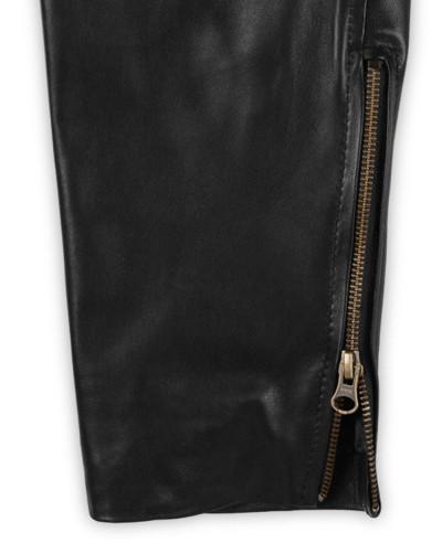 Men Genuine Leather Long Punk Pants Black Business