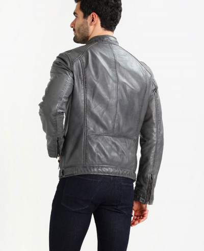 Men Grey Custom Leather Jacket