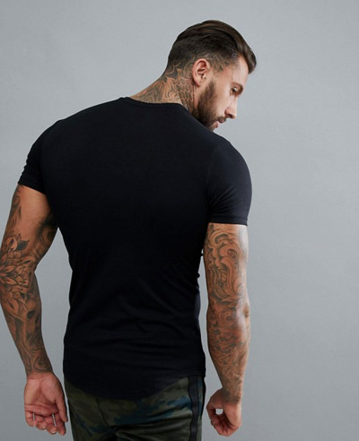 Men Gym Muscle Fashion T Shirt In Black