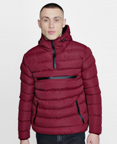 Men High Quality Custom Over The Head Puffer Jacket