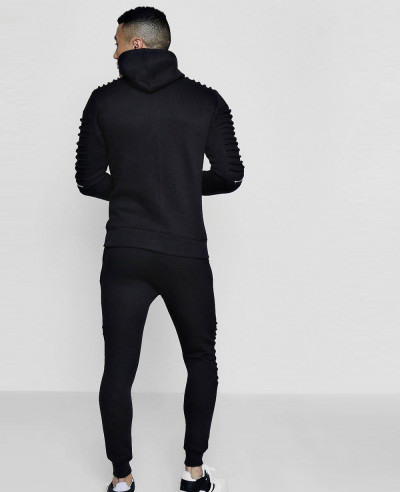 Men High Quality Skinny Fit Biker Zipper Hooded Tracksuit