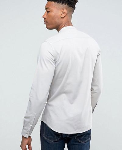 Men High Quality Stretch Slim Denim Western Shirt With Grandad Collar