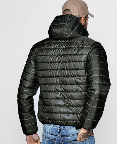 Men Hooded Zipper Through Lightweight Puffer Jacket