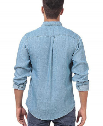Men-Lite-Denim-Pre-Washed-Shirt-With-Dark-Patch-Pocket