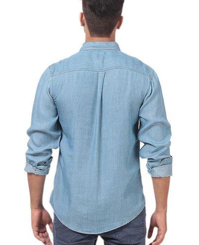 Men Lite Denim Pre Washed Shirt With Dark Patch Pocket