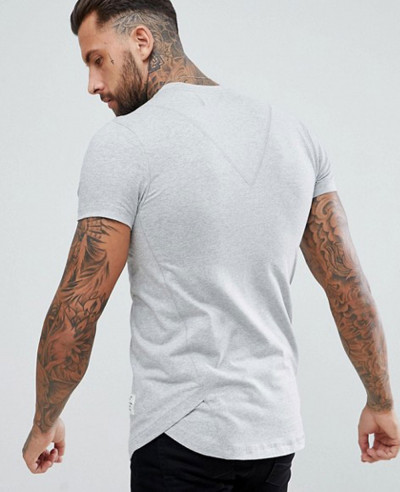 Men Longline Muscle Fit T Shirt In Grey