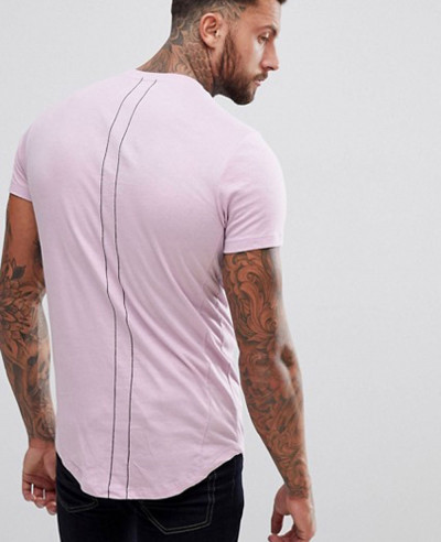 Men Longline With Curved Hem And Double Neck In Purple T Shirt