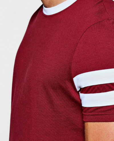 Men Maroon Stylish Contrast Panel Short Sleeve Sports T Shirt