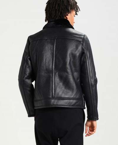 Men Most Selling Shearling Faux Leather Jacket