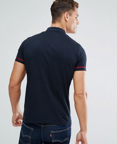 Men Polo Shirt With Colour Block And Ring Pull Zipper Neck