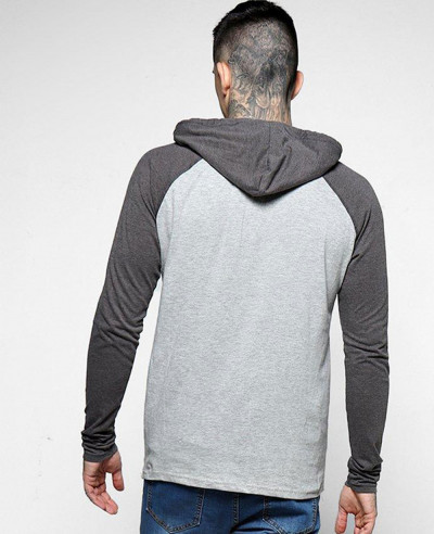Men Raglan Sleeve Lightweight Blue and Grey Hoodie