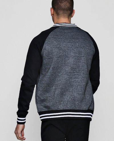 Men Raglan Sleeve Zipper Colour Block Raglan Jersey Rib Bomber Sweatshirt