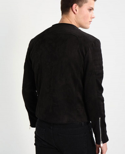 Men Regular Bike Custom Faux Leather Jacket