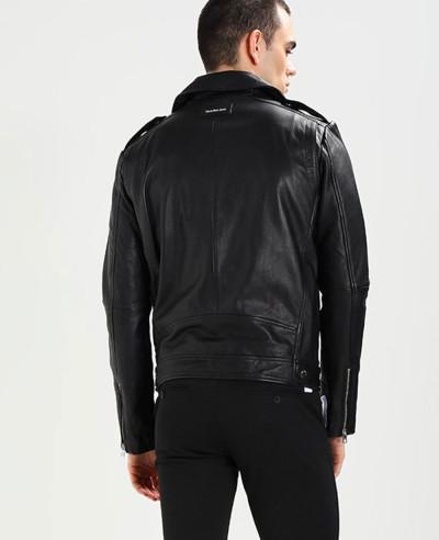Men Short Biker Real Leather Jacket