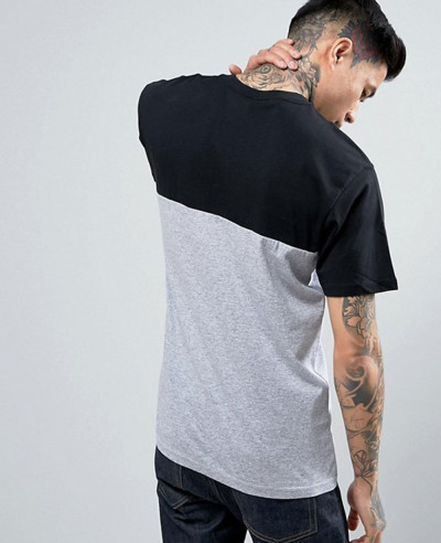 Men Short Sleeve Custom Colour Block T Shirt In Grey