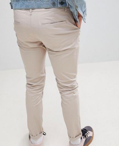 Men Skinny Chinos In Beige Trouser