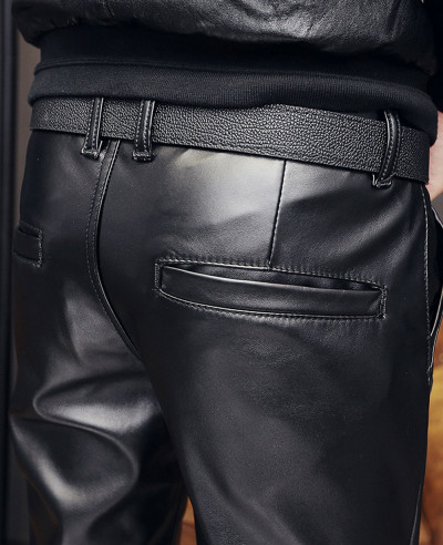 Men Skinny Faux Leather Pants Pleated Casual Long