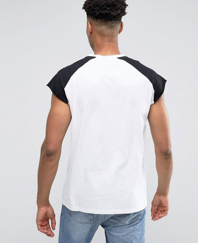 Men-Sleeveless-With-Raw-Edge-And-Contrast-Raglan-In-White-Black-Tank-Top