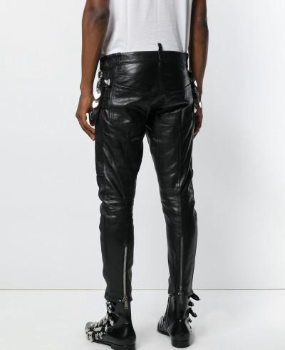 Men Slim Fit Genuine Leather Motorcycle Pants Zipper