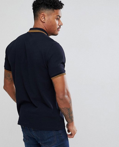 Men Slim Fit Twin Tipped Polo Shirt In Navy